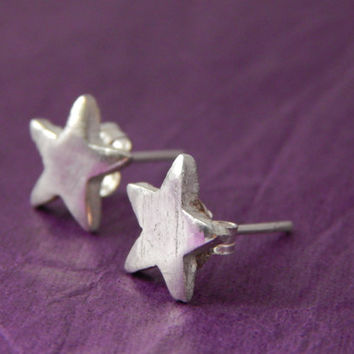 PMC Fine Silver Star Stud Earrings - PMC Fine Silver Jewelry - PMC Earrings - Silver Earrings - Silver Jewelry - Soldered Handmade Jewelry