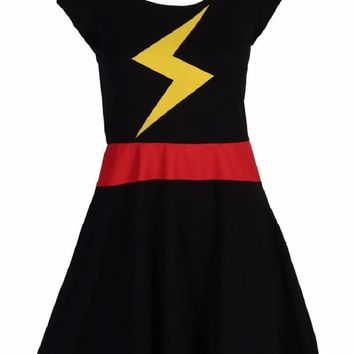 Miss Marvel Bolt Costume Marvel Comics WoAdult Junior Skater Dress
