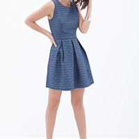 LOVE 21 Geo Pattern A-Line Dress Blue/Navy