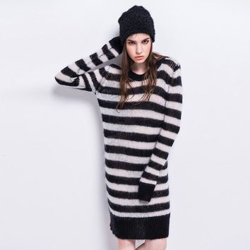 Fashion Dress Women Casual Striped O-neck Knee-Length  Loose Full Sleeve Autumn Streetwear Dress
