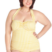 Bathing Beauty One Piece in Yellow Gingham - Plus