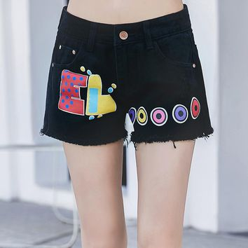 New 2017 summer preppy style fashion casual print jeans high waist slim plus size tassel pockets female denim shorts for woman