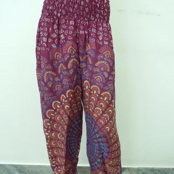 Harem Trouser Baggy Loose Genie Harem Pants Trouser jumpsuit Yoga Boho Gypsy Indian women Ladies Belly Dance Indian Flower Printed Pants