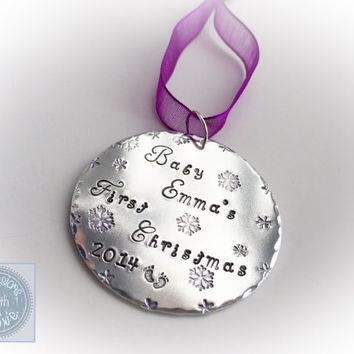 Hand stamped christmas ornament baby keepsake first christmas personalised personalized