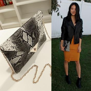 Sexy Women's Retro Snakeskin Pattern Envelope Bag Clutch Purse Evening Bag Handbag