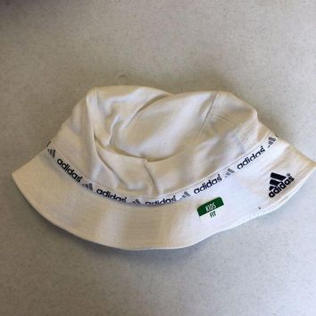 6ad5bf431a3 BRAND NEW ADIDAS WHITE BUCKET HAT SMALL LOGO KIDS FIT SHIPPING