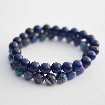 8mm Purple Chrysotine & Lapis Lazuli Bracelet Set Bead Bracelets Gemstone Bracelets Womens Mens Bracelets Stretchy Yoga Bracelets Gifts
