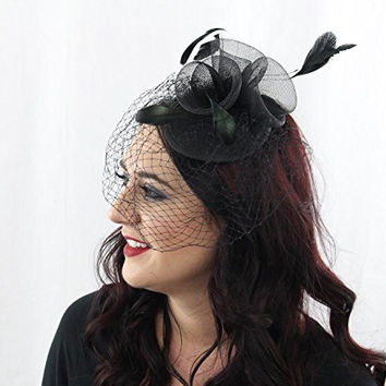 Women's Ladies Fascinator Hat Hair Clip For Derby Race Church Party Net and Veil (Black)