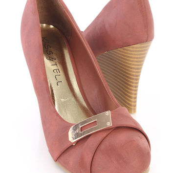 Brown High Polish Accent Single Sole Wedges Faux Leather