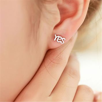 925 Silver Yes and No Tiny Studs Earrings +Gift Box