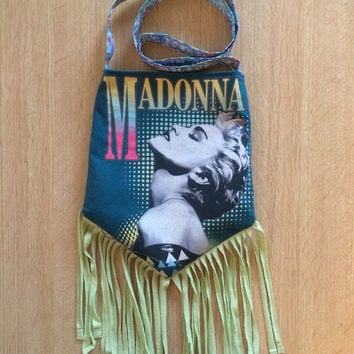 MADONNA - Upcycled Rock T-Shirt Fringe Purse - ooaK