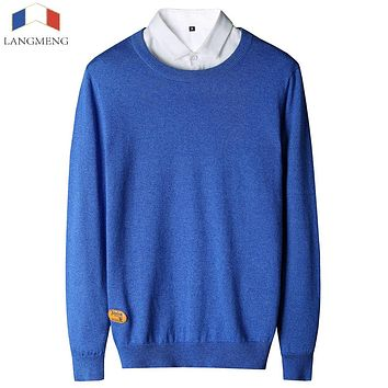LANGMENG Brand 2017 Autumn New Men Solid Sweater Thin O-neck Casual Long Sleeve 100% Cotton Knitted Male Sweaters Class Design
