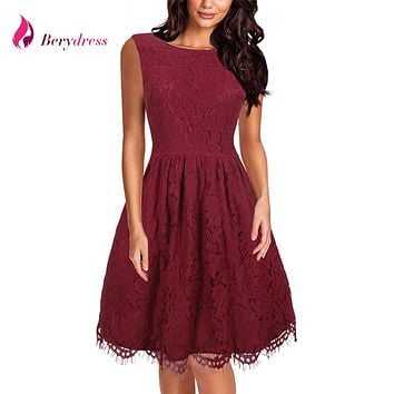 Berydress Cute Women Sexy V-back Sleeveless Wedding Party Knee-Length Flare Skater Dress A-Line Full Lace Dress Short Vestidos