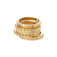FOREVER 21 Etched Ring Set Gold