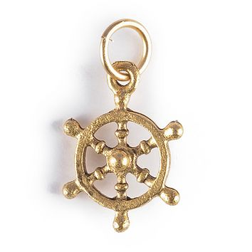 Ship's Wheel Charm Gold or Silver