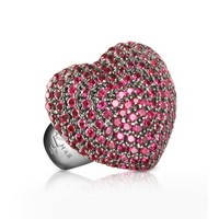 Azhar Designer Rings Sterling Silver and Cubic Zirconia Big Heart Ring