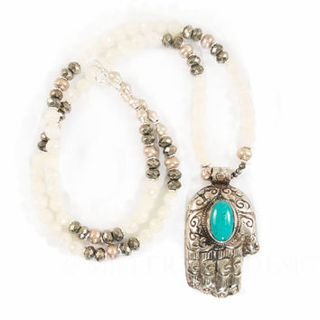 Hamsa Necklace | Turquoise Necklace | Boho Jewelry | Tribal Jewelry | Bohemian Necklace | Boho Necklace | Protection Amulet