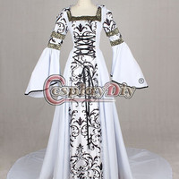 Medieval Victorian Renaissance Dress Gothic Ball Gown Vampire Hooded Costume Custom Made Alternative Measures - Brides & Bridesmaids - Wedding, Bridal, Prom, Formal Gown