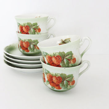 Vintage porcelain tea cups teacups saucers with red strawberries - 4 sets - Strawberry teacup and saucer sets