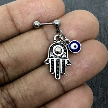 316L Surgical Stainless Solid Steel Hamsa, Evil eye 18g, 16g, 14g Helix, cartilage, tragus earring
