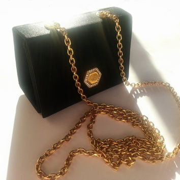 GUY LAROCHE Vintage Black Little Box Evening Handbag with Gold Tone Chain French Designer Bag with Rhinestones Satin Collectible Purse