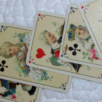 Old Playing Cards, Deck of Playing Cards, Deck of Cards:1890 King Louis XV,  BP Grimaud Jeu Louis Chromolithographic Cards, VG+ Condition