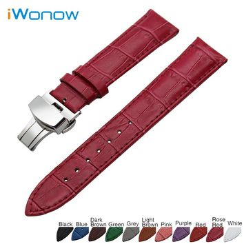 Genuine Leather Watch Band 18mm 19mm 20mm 21mm 22mm 24mm for Baume & Mercier Stainless Steel Buckle Strap Wrist Belt Bracelet