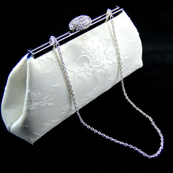 Ivory, White Lace and Royal Blue Bridal Clutch