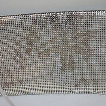 Whiting & Davis Clutch Purse Silver & Gold Mesh Tropical Flower Pattern