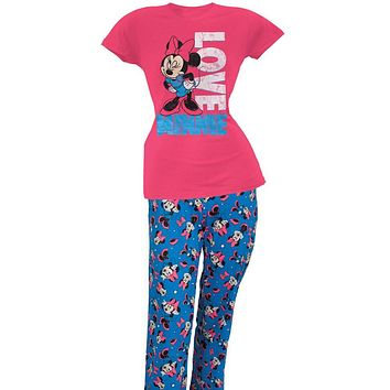 Minnie Mouse - Winking Juniors Two Piece Pajama Set