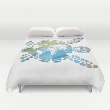 "Sea Turtle Duvet Cover or Comforter, ""Mother Earth"" Map, ecology, Ocean, surf  aqua, blue, green, teen, sea turtle, Earth, bedroom decor"