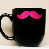 Mustache Mug  Black  Hot Pink Stache  Coffee by TheBeautifulHome