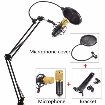 Broadcast BM 800 Professional Electric Cardioid Condenser Microphone Sound Studio Recording Wired Dynamic Vocal MicColor:BlackAr