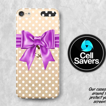 Purple Bow Clear iPod 5 Case iPod 6 Case iPod 5th Generation iPod 6th Generation Rubber Case Gen Clear Case Polka Dot Pattern Bow Cute Girly