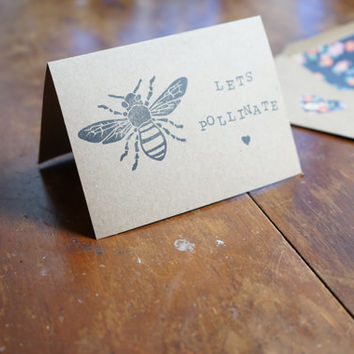 Hand Stamped Blank Greeting Card, Bee Greeting Card, I Love You Card, Men's Gift, Boyfriend Card, Handmade card, Bumble Bee Card, Dirty Card