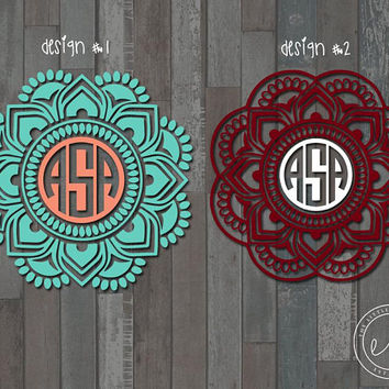 Custom Monogram Mandala Decal, Car, Monogram, Personalized Name, Yeti, RTIC, Tumbler Decal Decals, Mandala Sorority