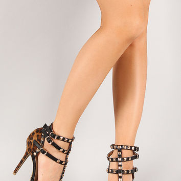 Wild Diva Lounge Adora-55 Leopard Studded Pointy Toe Pump