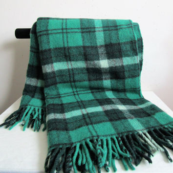 Vintage 1970s Wool Green Tartan Throw Haddon Hall Eatons of Canada Black Plaid Wool 70s Throw