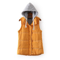 Drawstring Hooded Sleeveless Zipper Pocket Coat