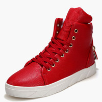 Lace Up Round Toe PU Leather High-top Sneakers
