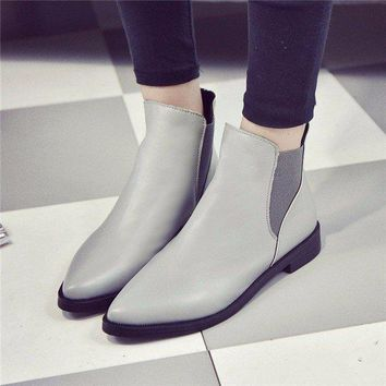 Pointed Toe Gray Black Ankle Flat Casual Boots