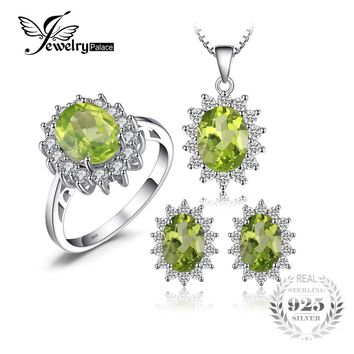 JewelryPalace Diana Style Peridot Stone Ring Pendant Earring and a Gift Chain Fine Jewelry Set Pure 925 Sterling Silver Jewelry