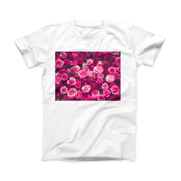 The Vibrant Pink Vintage Rose Field ink-Fuzed Front Spot Graphic Unisex Soft-Fitted Tee Shirt