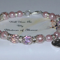 matron of honor item - wedding jewelry - custom bridesmaid - will you be my - matron of honor gift - wedding party gift - handmade bracelet