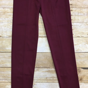 Zipped Faux Pocket Leggings: Burgundy