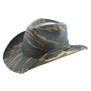 Country Classic Camo Camouflage Cowboy Hat, Green Brown