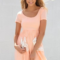 SABO SKIRT  Peach Prim Dress - $52.00