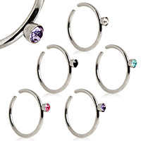 316L Surgical Steel Nose Hoop Ring with Glass/Gem