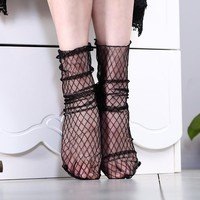 Korean Black Lace Ruffle Fishnet Socks Sexy Ultrathin Transparent Breathable Long Sock Vintage Female Heap Socks For Women Girls