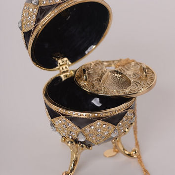 Brown Faberge Egg with Egg Pendant Inside Handmade Trinket Box by Keren Kopal Decorated with Swarovski Crystals Gold Plated